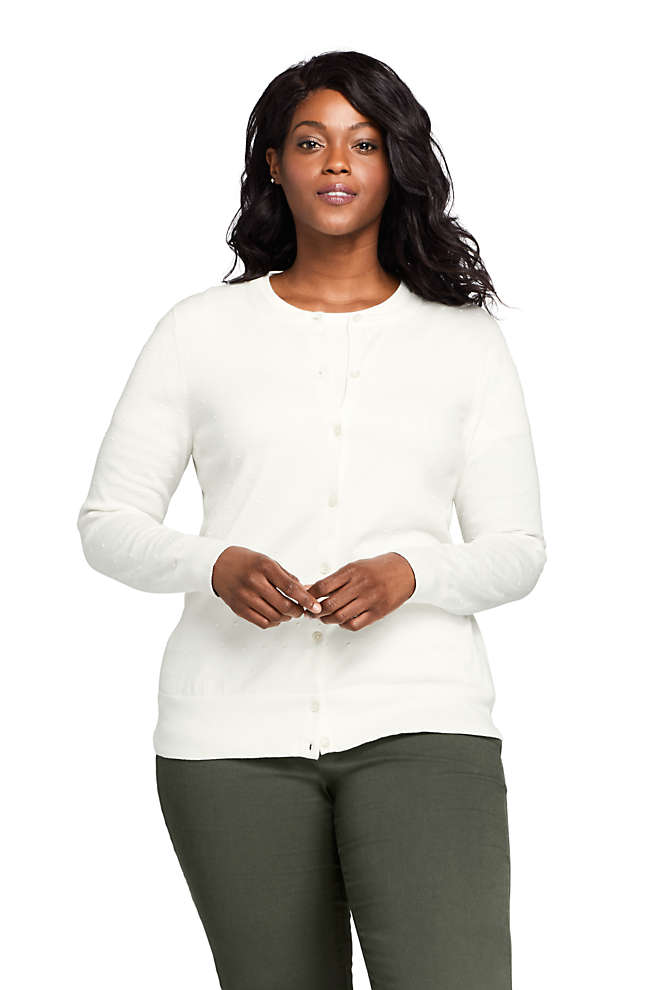 Women's Plus Size Supima Cotton Cardigan Sweater - Textured, Front