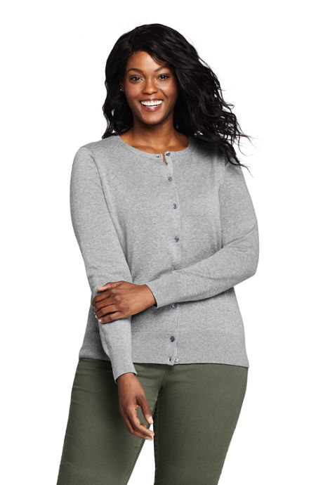 Women's Plus Size Supima Cotton Cardigan Textured Sweater