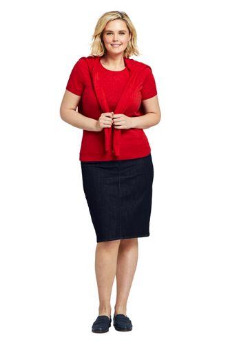 Women's Plus Size Denim Pull On Pencil Skirt