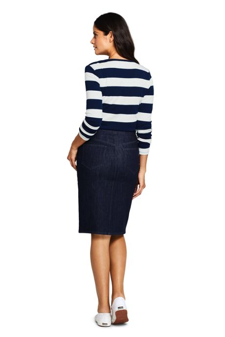 Women's Petite Denim Pull On Pencil Skirt