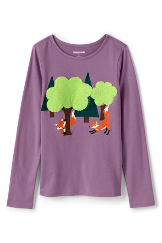Little Girls' Long Sleeve Fun Foxes Graphic T-shirt
