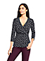 Women's Print Jersey Three-quarter Sleeve Wrap Front Top