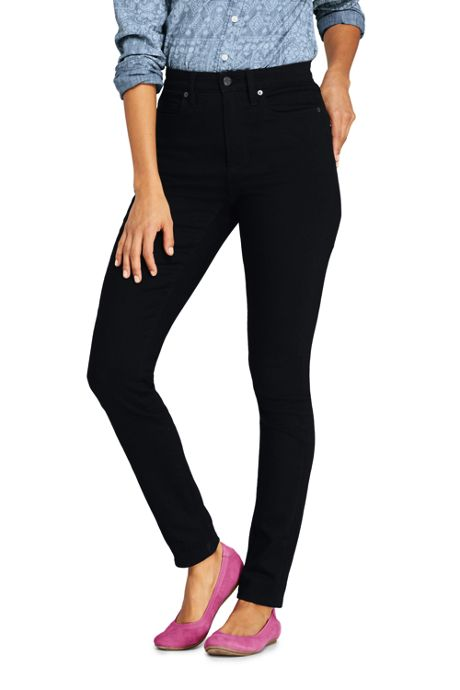 Women's Petite Slimming Compression High Rise Skinny Jeans - Black