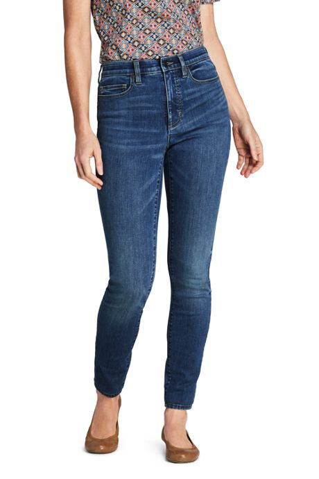 Women's Petite Slimming Compression High Rise Skinny Blue Jeans