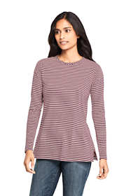 Women's Petite Moisture Wicking UPF Sun Long Sleeve Stripe Tunic Top