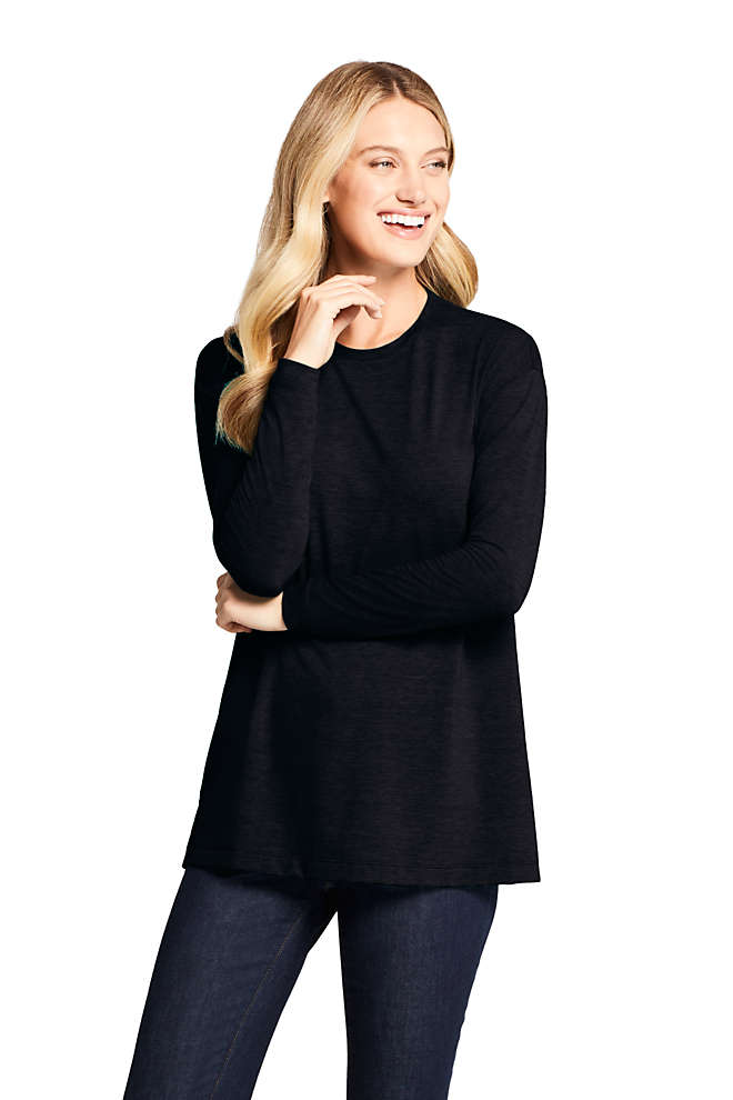 Women's Petite Moisture Wicking UPF 50 Sun Long Sleeve Tunic Top, Front