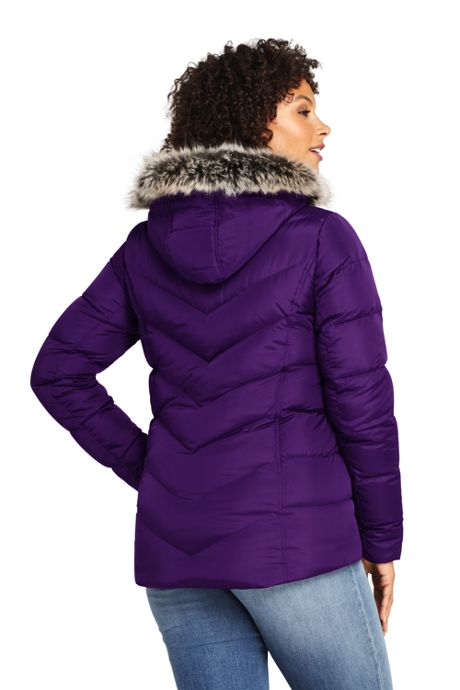 Women's Plus Size Faux Fur Hooded Down Winter Jacket