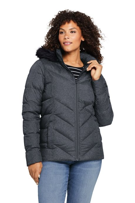 Women's Plus Size Petite Faux Fur Hooded Down Winter Jacket