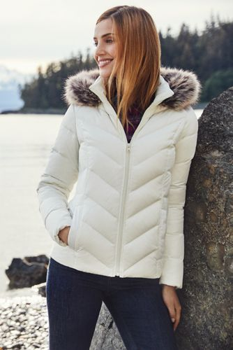 Women's Petite Faux Fur Hooded Down Winter Jacket