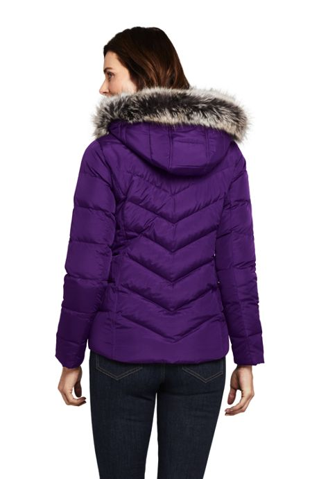 Women's Petite Faux Fur Hooded Down Winter Jacket