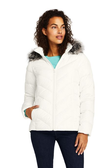 Women's Tall Faux Fur Hooded Down Winter Jacket