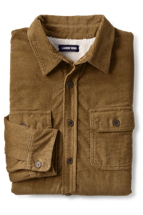 Men's Traditional Fit Sherpa Lined Corduroy Shirt Jacket