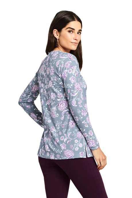 Women's Petite Moisture Wicking UPF Sun Long Sleeve Tunic Top Print