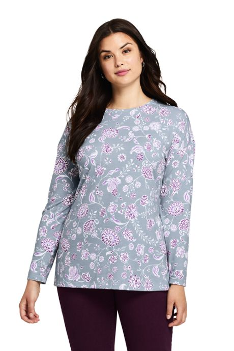 Women's Plus Size Moisture Wicking UPF Sun Long Sleeve Tunic Top Print