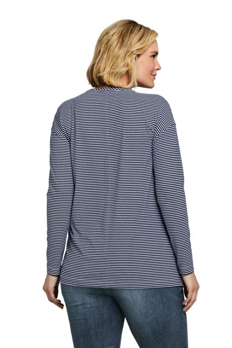 Women's Plus Size Moisture Wicking UPF Sun Long Sleeve Stripe Tunic Top