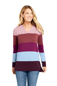Women's Cotton V-neck Tunic Sweater - Stripe