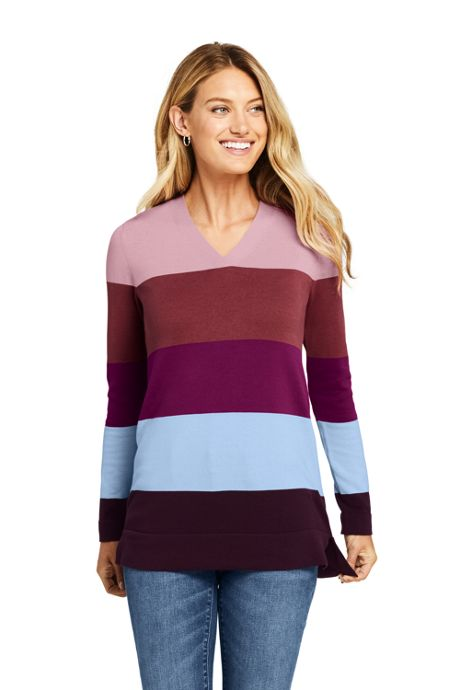Women's Tall Cotton V-neck Tunic Sweater - Stripe