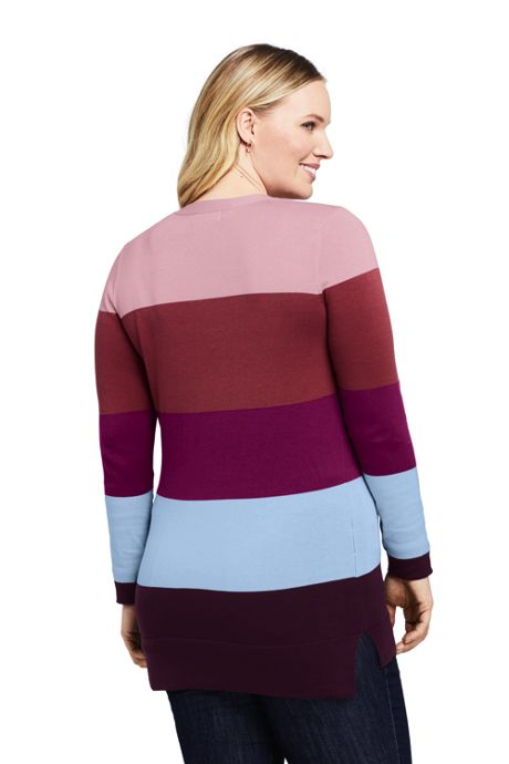 Women's Plus Size Cotton V-neck Tunic Sweater - Stripe