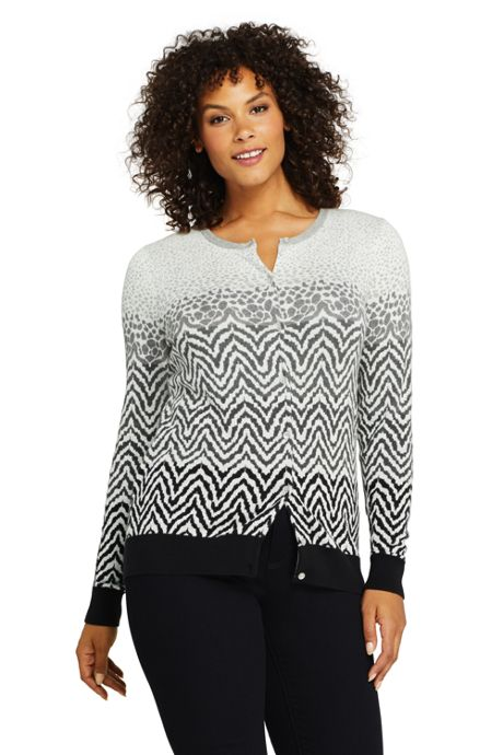 Women's Plus Size Supima Cotton Cardigan Sweater - Print