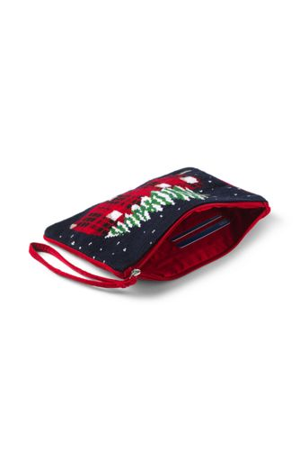 Medium Christmas Needlepoint Zipper Pouch