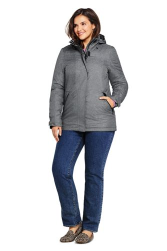 Women's Plus Size Heathered Hooded Squall Winter Jacket