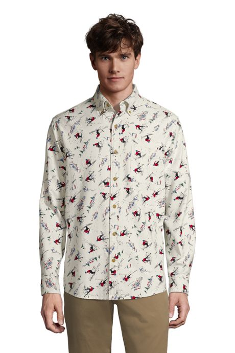 Men's Tall Traditional Fit Printed Flagship Flannel Shirt