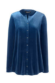 Women's Petite Velvet Button Front Long Sleeve Tunic Top