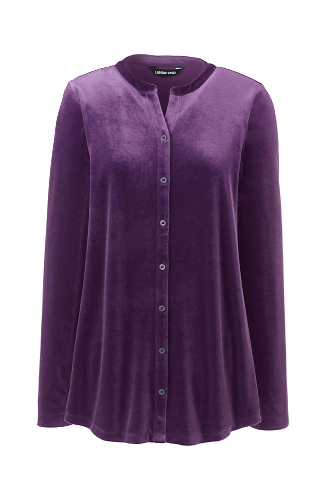Women's Tall Velvet Button Front Long Sleeve Tunic Top , Front
