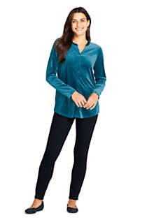 Women's Velvet Button Front Long Sleeve Tunic Top, alternative image