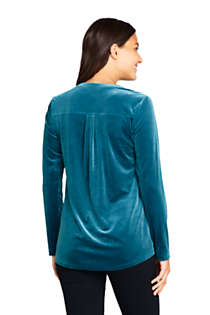 Women's Velvet Button Front Long Sleeve Tunic Top, Back