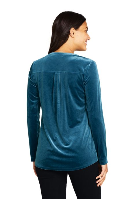 Women's Velvet Button Front Long Sleeve Tunic Top