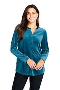 Women's Velvet Button Front Long Sleeve Tunic Top, Front