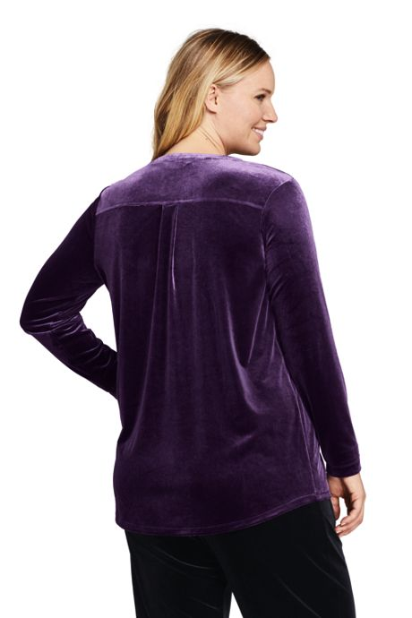 Women's Plus Size Velvet Button Front Long Sleeve Tunic Top