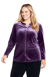 Women's Plus Size Velvet Button Front Long Sleeve Tunic Top, Front