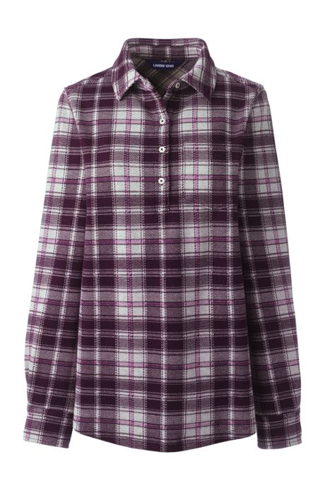 Women's Petite Brushed Knit Long Sleeve Tunic Top Plaid