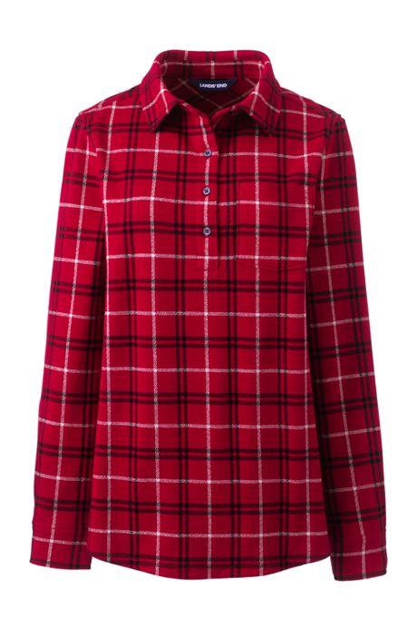Women's Plus Size Brushed Knit Long Sleeve Tunic Top Plaid