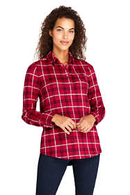 Women's Brushed Knit Long Sleeve Tunic Top Plaid