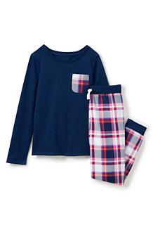 Kariertes Pyjamaset mit Brusttasche für Mädchen