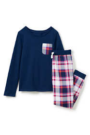 Girls Chest Pocket French Terry Pajama Set