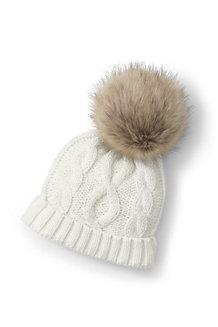 Girls' Faux Fur Pom Pom Hat