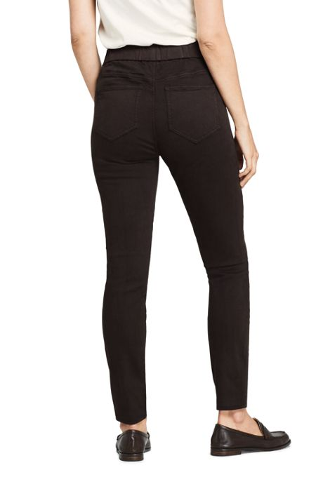 Women's Petite Curvy Elastic Waist High Rise Pull On Skinny Legging Jeans - Color