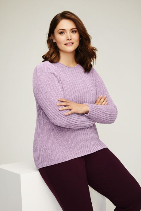 Women's Plus Size Chenille Ribbed Crewneck Sweater