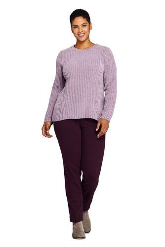Women's Plus Size Chenille Ribbed Crewneck Sweater