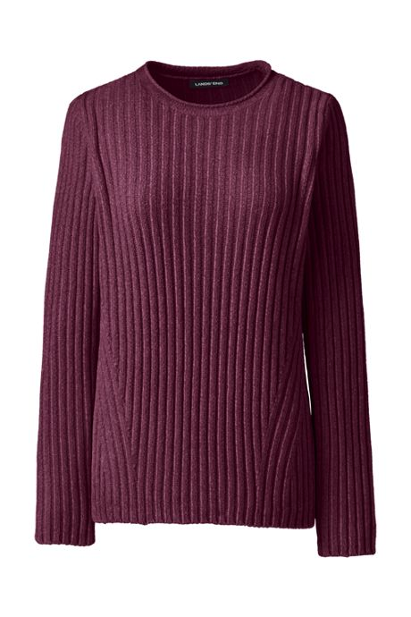Women's Petite Chenille Ribbed Crewneck Sweater