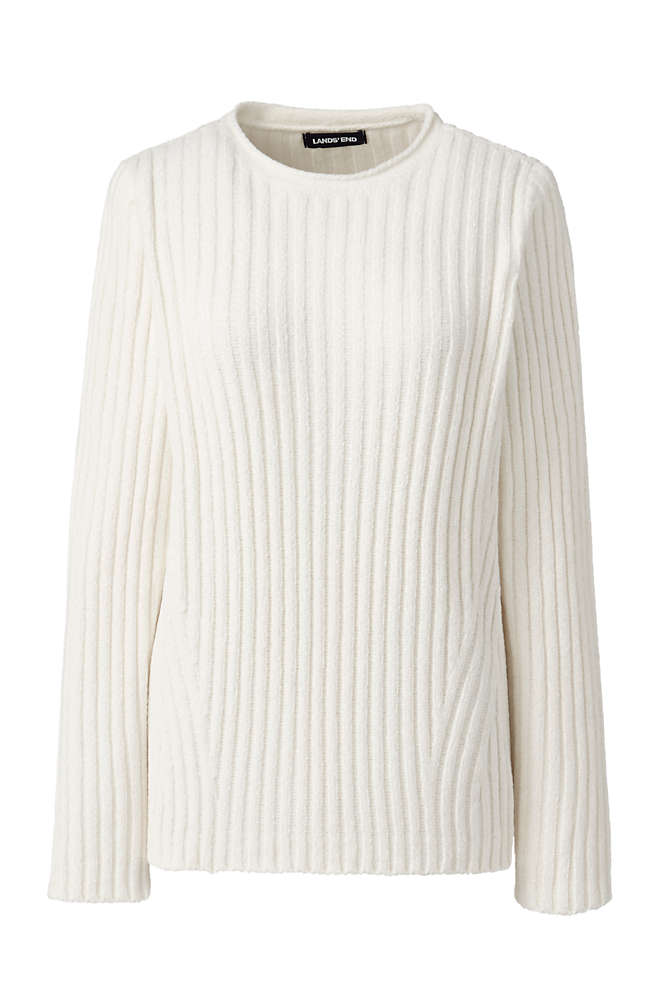 Women's Chenille Ribbed Crewneck Sweater, Front