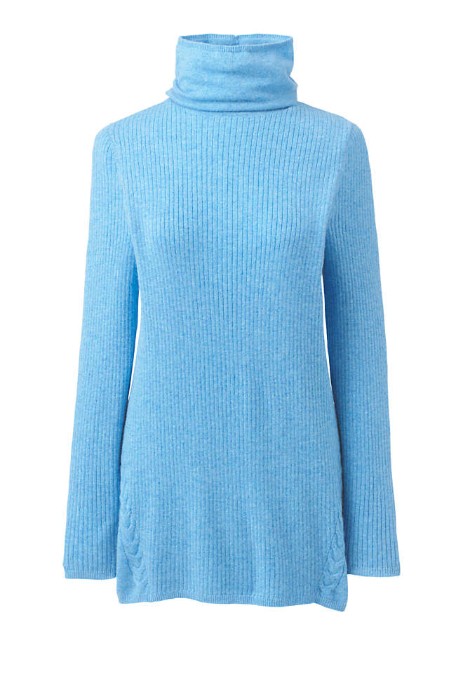 Women's Cashmere Cable Scrunch Mock Neck Tunic Sweater, Front