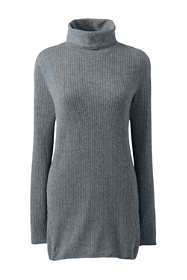 Women's Plus Size Cashmere Cable Scrunch Mock Neck Tunic Sweater