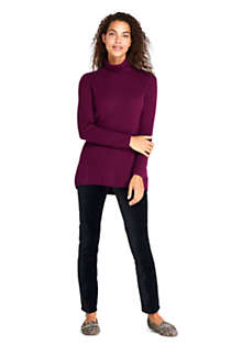 Women's Cashmere Cable Scrunch Mock Neck Tunic Sweater, Unknown