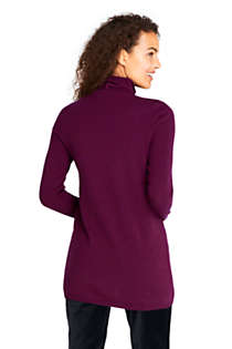 Women's Cashmere Cable Scrunch Mock Neck Tunic Sweater, Back