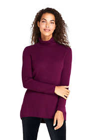 Women's Cashmere Cable Scrunch Mock Neck Tunic Sweater